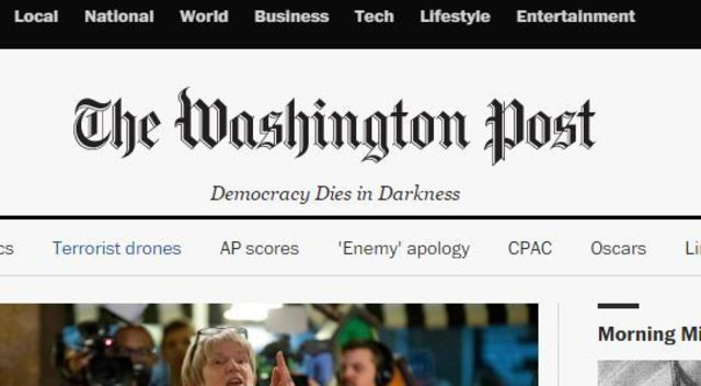 "Washington Post new sub-header says, ""Democracy Dies In Darkness."""